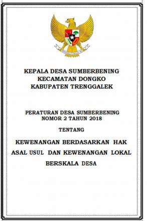 Peraturan Desa Nomor 2 Tahun 2018 tentang Kewenangan dan Hak Asal Usul Desa